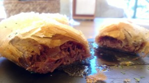 Filo pastry filled with tender stewed bull's tail